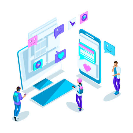 Isometrics young people, communication on the Internet with different people, correspondence, acquaintance through the Internet. Bright holographic design.