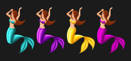 Isometrics game concept cartoon with fairy-tale characters, set of mermaids, girls, serenas, different colors, beauties.