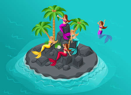 Isometry is an island of mermaids in the sea, sirens, guarded by a stone island. Vector characters for graphic games, landscape.
