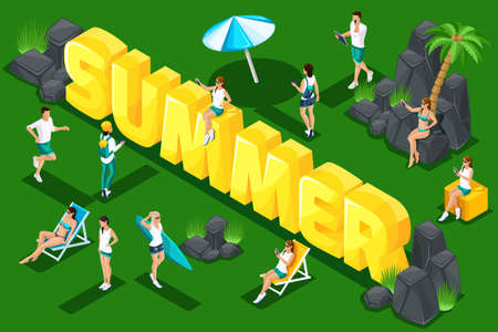 Isometry letters summer, young people, teenagers in nature, spring holidays, sunbathing, girls and men in scarves. Bright summer concept.