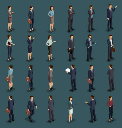 Isometric People Isometric businessmen, businessman and business woman, people in business suits during work, front view rear view isolated on a dark background. Vector illustration. Illustration