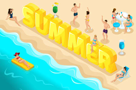 Isometric letters summer, font, people, characters, relax at the resort, vacation, a trip to the sea, sea surf, beach, sunburn, girls in swimsuits. Bright summer concept.