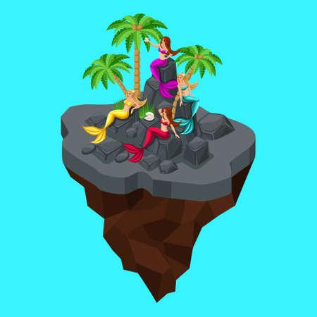 Isometry is a fairy island, a cartoon, a girl of mermaids, sitting on mantel rocks, on a blue sea background. Fairy-tale persona beautiful mermaids.