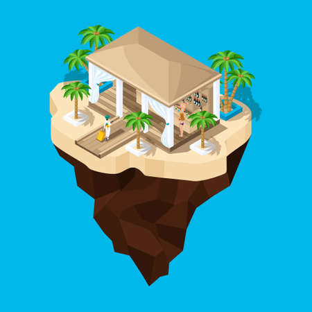 Isometry is a fabulous island, a cartoon, a girl with a suitcase goes to the hotel, a game landscape. Holidays in warm countries. Vektoros illusztráció