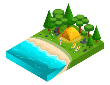 Isometrics of camping, recreation of young people of generation Z on the nature, forest, sea, beach, shore of the lake, bank of the river. Healthy lifestyle.
