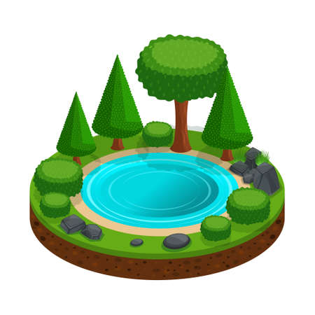 Isometric island with a small forest lake, trees, landscape for creating graphic games. Colorful basis for camping. Иллюстрация