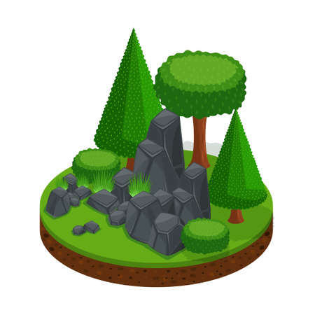 Isometric glade with a stone mountain, a forest of trees and conifers, an excellent landscape for games.