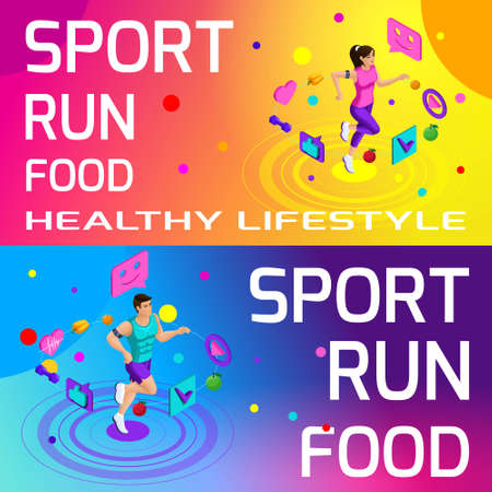 Isometry bright colorful banners on the theme of sport, healthy eating, healthy lifestyle. Running, sport, body beauty and sports figure.