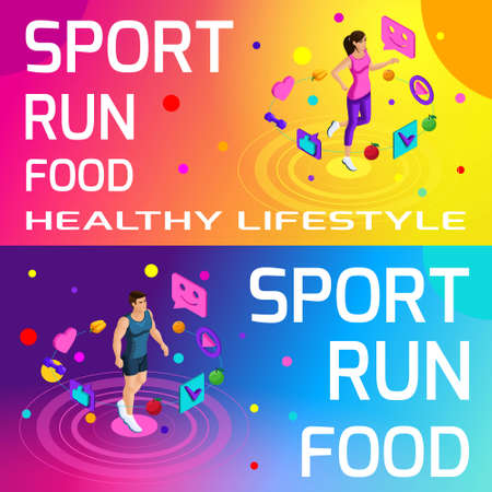 Isometry bright colorful banners on the theme of sport, healthy eating, healthy lifestyle. Running, sport, body beauty and sports figure set3. Illustration