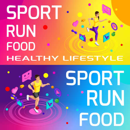 Isometry bright colorful banners on the theme of sport, healthy eating, healthy lifestyle. Running, sport, body beauty and sports figure set2.