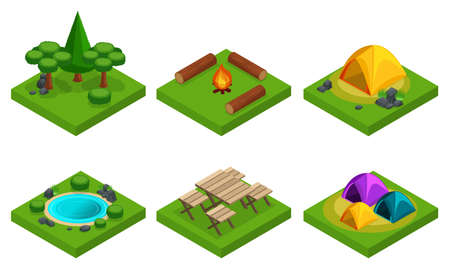 Isometry set of outdoor recreation, travel, camping, forest, mountains, lakes. A large set of things for creating their own rest. Illustration