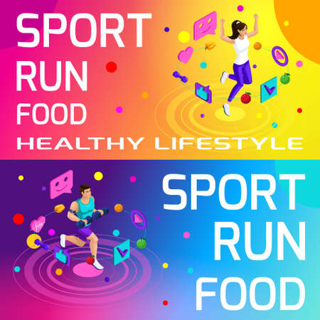 Isometry bright colorful banners on the theme of sport, healthy eating, healthy lifestyle. Running, sport, body beauty and sports figure set4. Illustration