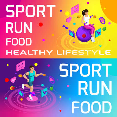 Isometry bright colorful banners on the theme of sport, healthy eating, healthy lifestyle. Running, sport, body beauty and sports figure set5. Illustration