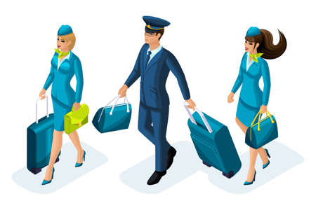 Isometric group of employees of international airlines, flight attendants, pilot, captain of an aircraft. Plane for travel. Ilustración de vector