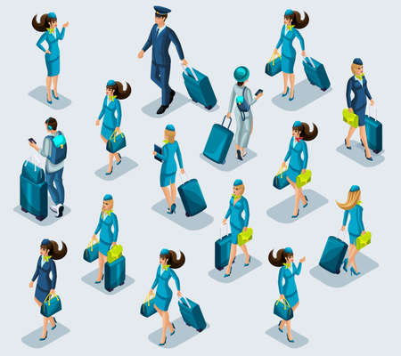 Isometry recruitment of people airport employees, stewardess girl, flight attendants, pilot, passengers flying on vacation, suitcases, things. international Airport.