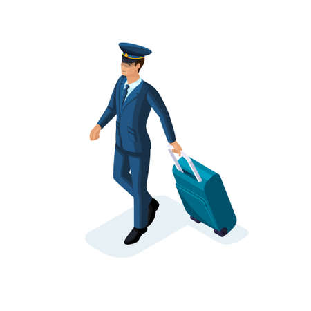 Isometric man, an international airline employee, pilot, captain, carries a suitcase, cap, headpiece. Handsome man in suit. Vector Illustration