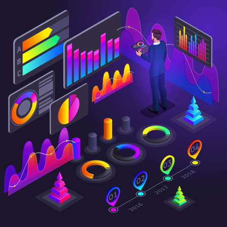 Isometry of business men, businessmen holographic bright colored graphics, profit indicators, revenue growth analytics, reports, diagrams, finance, money, growth.