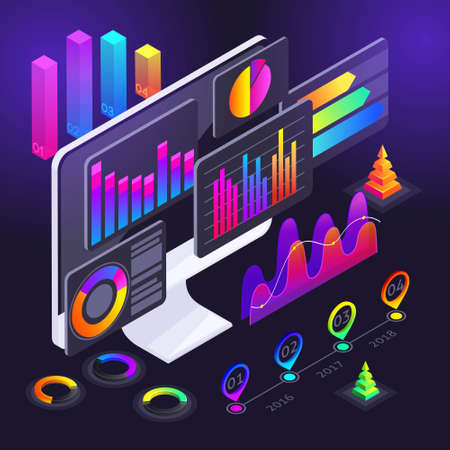 Isometry diagrams on the computer screen, holographic color charts, profit indicators, analysis, analytics, revenue growth, reports, money, fluctuations of the crypto currency.