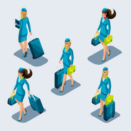 Isometry set of stewardess girls in beautiful strict suits, uniforms, suitcases, gods, bags, front view and rear view. Airport employees escort.