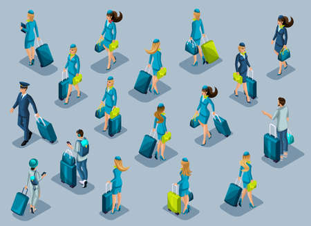 Isometry of passengers, flight attendants, pilots, recruitment of people at the international airport. People hurry with suitcases, front view back view. Stock Illustratie