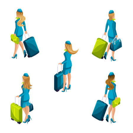 Isometry of the stewardess with luggage goes aboard the ship. Set of flight attendants back view.