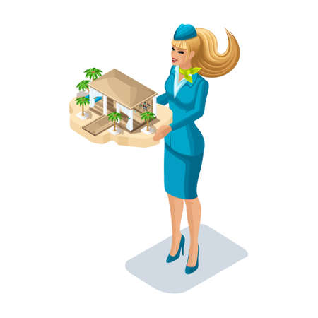 Isometry of a stewardess girl with a kind of rest, a luxury hotel, a swimming pool. Vacation, tour, travel, girl front view set 1. Illustration