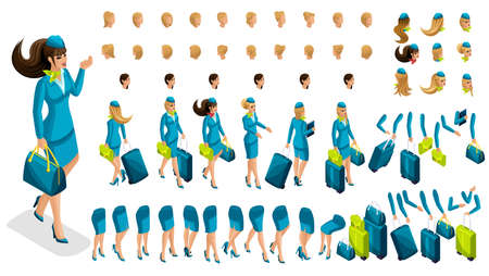 Isometry constructor stewardess, a large set of gestures of the legs, hands, hairstyles, emotions of the girl. Create your character in isometric, a set of accessories and suitcases set 6.