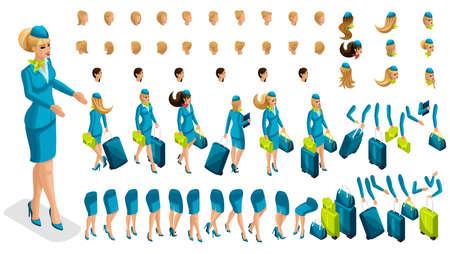 Azafata constructora de isometría, un gran conjunto de gestos de las piernas, manos, peinados, emociones de la niña. Crea tu personaje en isométrico, un set de accesorios y maletas set 5. Ilustración de vector