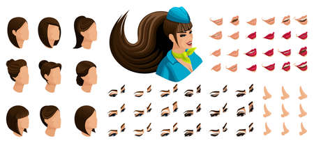 Isometry of the stewardess girl with a set of emotions for the creation of her character. A large set of lips, hair, eyes, nose. Beauty Facial Designer set 4.