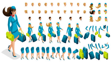 Isometry constructor stewardess, a large set of gestures of the legs, hands, hairstyles, emotions of the girl. Create your character in isometric, a set of accessories and suitcases set 3.