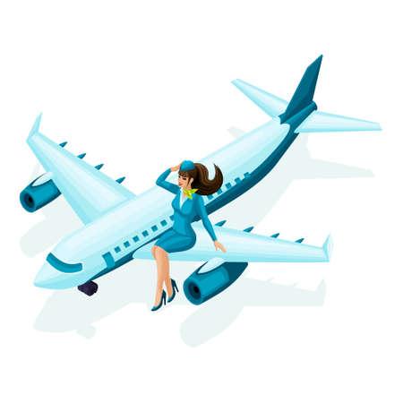 Azafata isométrica se sienta en el avión. Hermosa chica en ropa colorida, uniforme, maquillaje, peinado. Una mujer en su set de trabajo favorito 2.