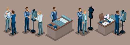 Isometric tailor, work with a client in a sewing workshop, cutting, dimensions, preparing clothes, fitting, sewing machine. The entrepreneur working for himself, his own business