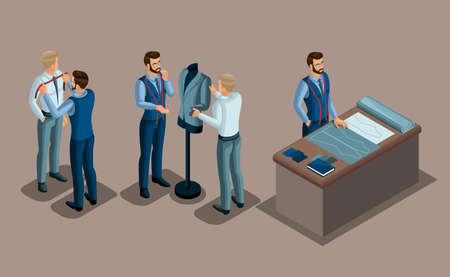 Isometric tailor, work with a client in a sewing workshop, cutting, dimensions, fitting of ready-made clothing. The entrepreneur working for himself, his own business. Vektorgrafik