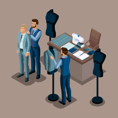 Isometric tailor, the creation of quality clothing to order, a workshop, an atelier. Tailoring. The entrepreneur working for himself, his own business set 4.