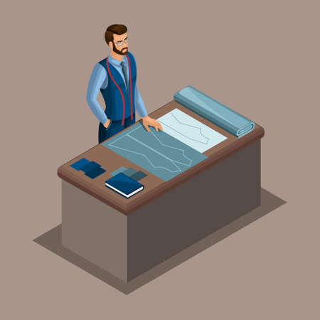 Isometric tailor, work in a sewing workshop, choice of fabric, creation and tailoring. The entrepreneur working for himself, his own business.