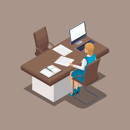 Isometric bank worker, manager of the rear view. Loan delivery in cash. Branded clothing, dress code. Beautiful well-groomed girl with hair and make-up.