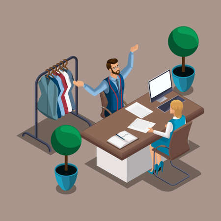 Isometric tailor proves to a bank employee that he has many orders to secure credit obligations. Entrepreneur, work for yourself. Ilustração