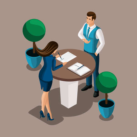 Isometric girl the entrepreneur signs the contract in the bank's office, the bank employee concludes the contract. Vector illustration of a banking structure. Illustration