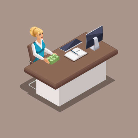 Isometric worker bank manager girl working in the office. Loan delivery in cash. Branded clothing, dress code. Beautiful well-groomed girl with hair and make-up.