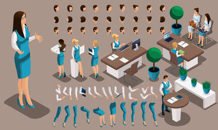 Isometric vintage background, bank worker girl, a set of gestures of hands and feet, hairstyles, emotions to create your character. Create your manager set 2. Illustration