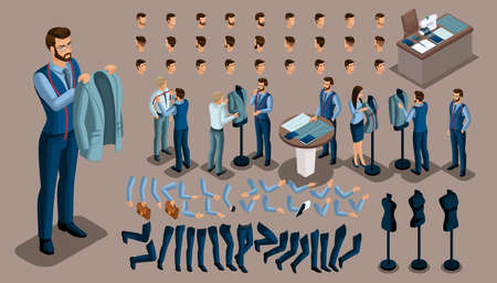 Isometric vintage background, a tailor man, a set of gestures of hands and feet, hairstyles, emotions to create your character. Set of tailors for sewing workshop set 1.