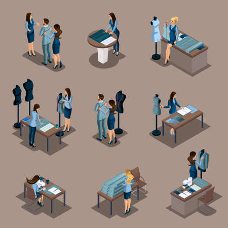 Isometric girl tailor, a set of mini concepts for work in a sewing workshop. Entrepreneur, business woman, own business.