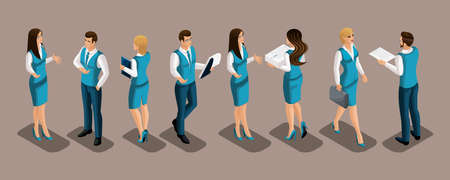 Isometrics set of bank employees in uniform, men and women, front view, rear view. Illustration