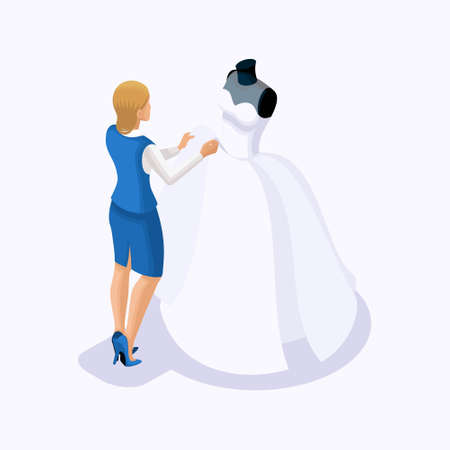 Isometric is a set of tailors sewing wedding dresses, a client on a fitting dress. Sewing the best and luxurious wedding dress in the atelier set 2. Ilustração