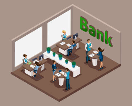 Isometric office of the bank, bank employees serve customers, issuance of loans, credit cards, deposits, bank cells. E-service.