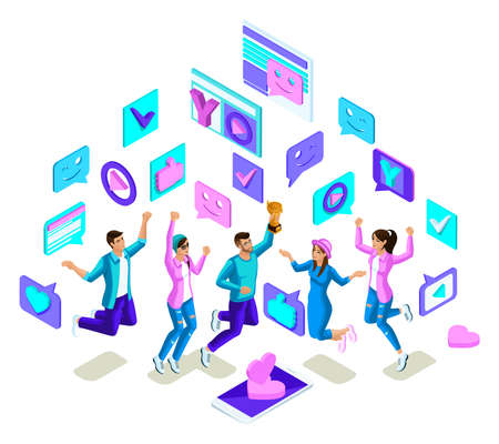 Isometrics teenagers jumping, bright design, generation Z, cool young people, phones, gadgets on a white background.