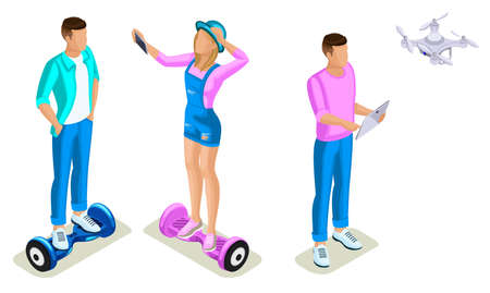 Isometrics young people, generation Z, teenagers using hoverboard. The gyroscope based dual wheel electric scooter, smart balance wheel.