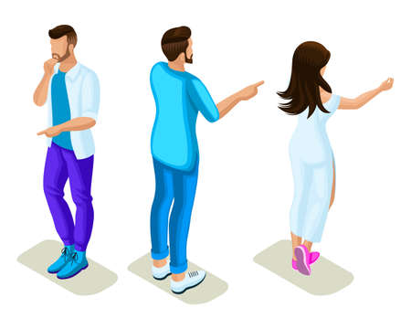 Isometrics young people, generation Z, rear view and front view, hand gesture show, point, guide. Illustration