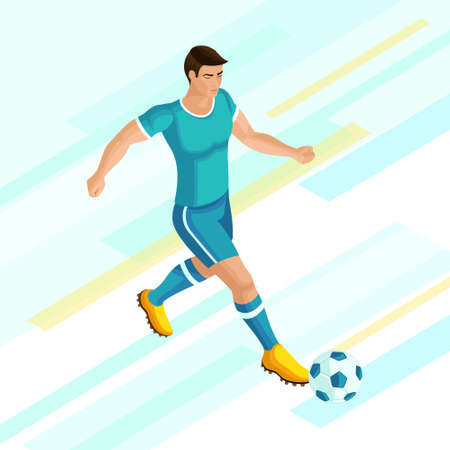 Isometrics Soccer player on a bright background of. Playing football, the player is running, attacking. Colorful concept of the Illustration