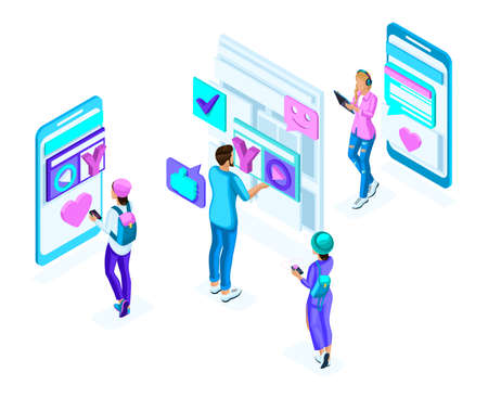 Isometric teenagers, use gadgets, phones, generation Z, colorful concept of social networking correspondence, a set of holographic people.